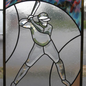 Baseball Batter MMS Bevel Cluster Finished Stained Glass Panel