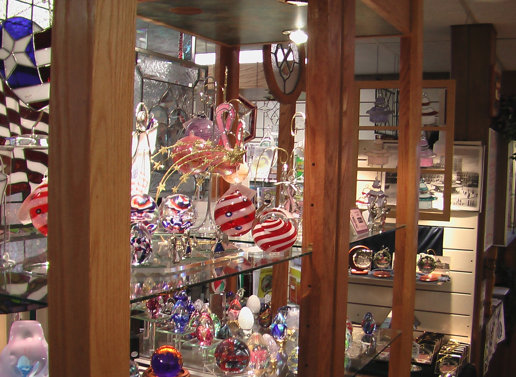 Blown glass ornaments and paperweights