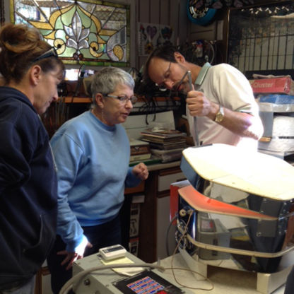Fusing Class Students Observing Kiln