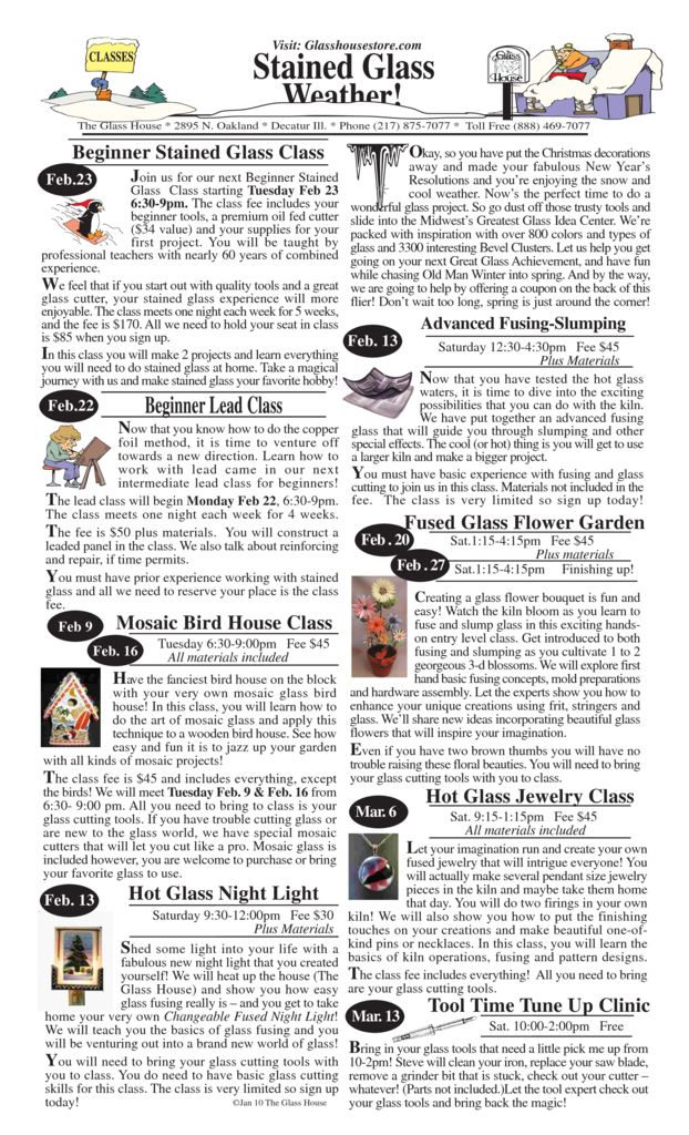 thumbnail of Stained Glass Sale Flier January Front