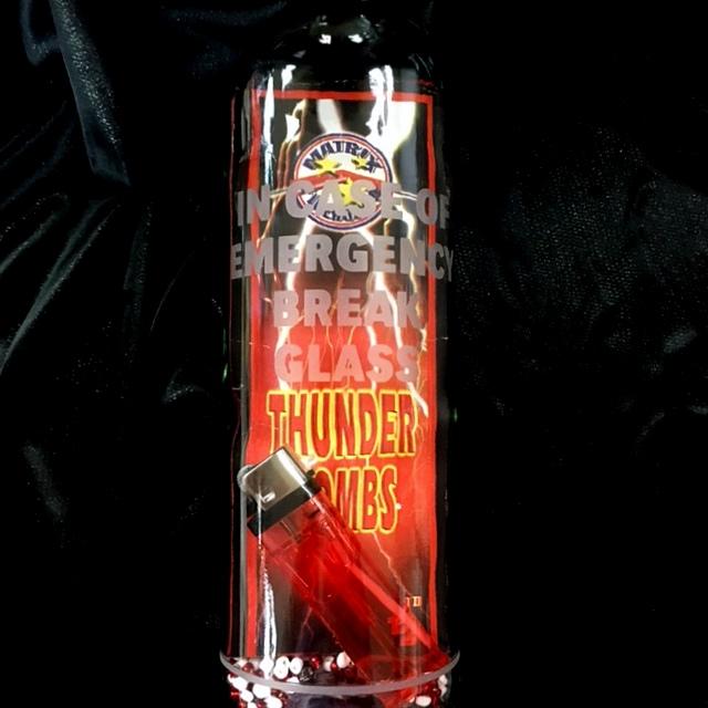 In case of emergency break glass firecrackers and lighter emergency