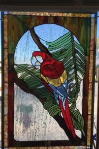 Parrot Beveled Stained Glass Panel