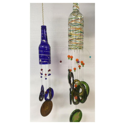 Wind chime glass bottle class project example