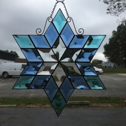 MMS 9000 Teal and Blue Bevel Cluster Finished Stained Glass Project Panel