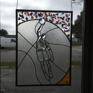 MMS Basketball Player Bevel Cluster Finished Stained Glass Project Panel