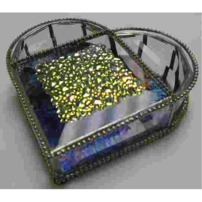 """Heart Box Kit 5 1/4"""" X 5"""" Dichroic and Clear 13 glass bevels"""
