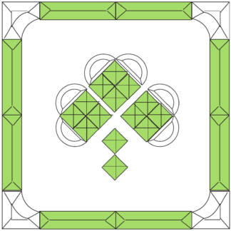 "Shamrock Green & Clear with Border Beveled Glass Cluster 12"" x 12"""