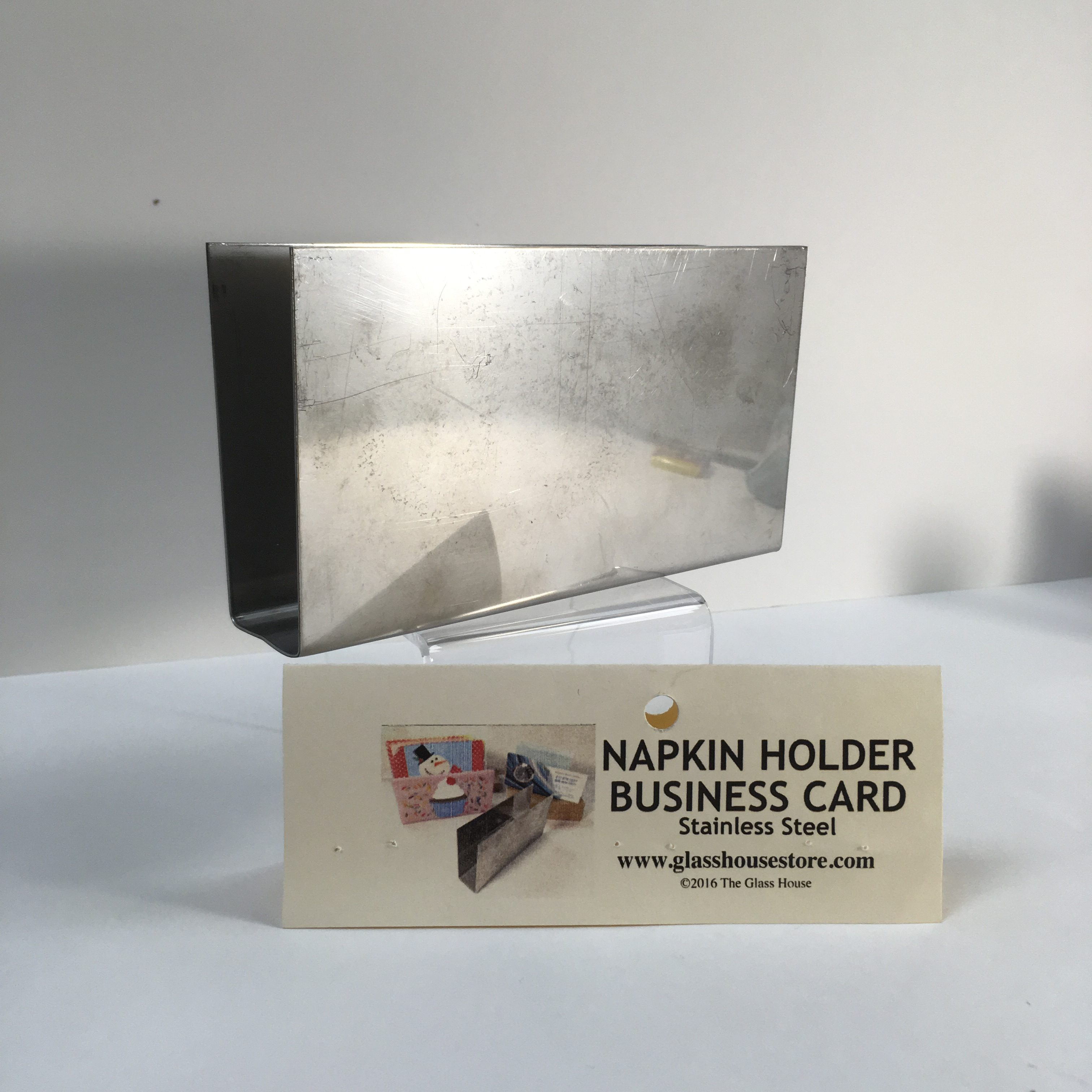 Stainless steel napkin holder business card holder mold glass business reheart Gallery