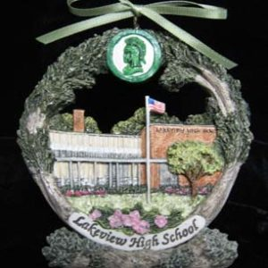 Decatur Lakeview High School Christmas ornament on stand