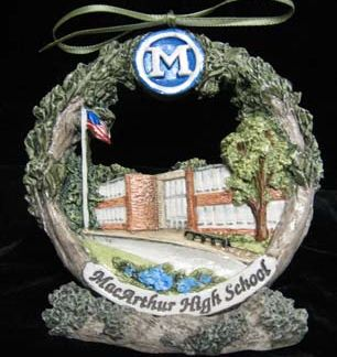 Decatur Macarthur High School Christmas ornament on stand