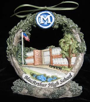 Decatur Macarthur High School Christmas ornament on stand