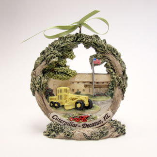 Decatur Caterpillar Tractor Grader Christmas ornament on stand