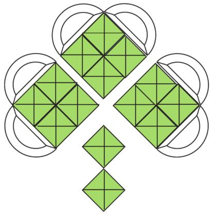 "Shamrock Green & Clear 7"" x 6"" Bevel Cluster"