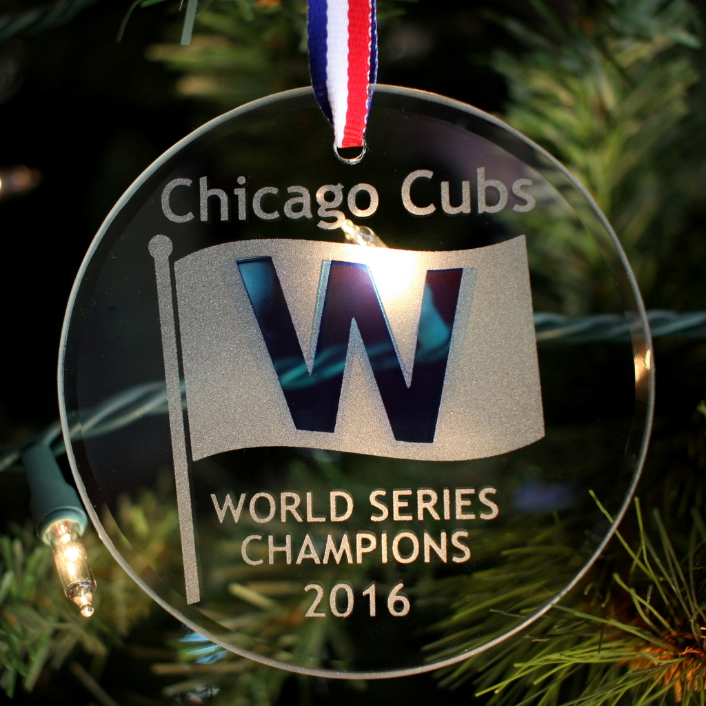 Cubs Christmas Ornaments.Chicago Cubs World Champions W Christmas Ornament Glass