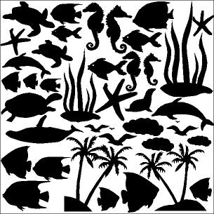 Hidden Image Sea Life Precut Foil Overlay Sheet Glass