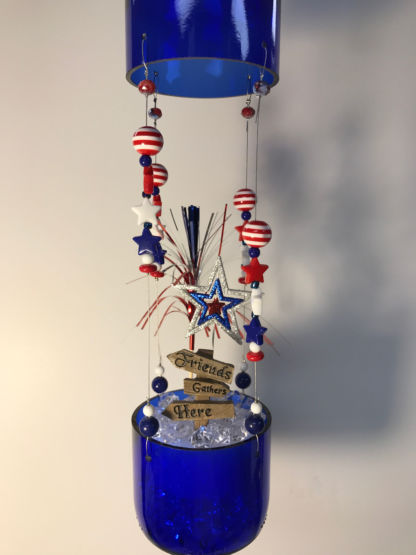 Complete Wine Bottle Patriotic Fairy Garden Close Up