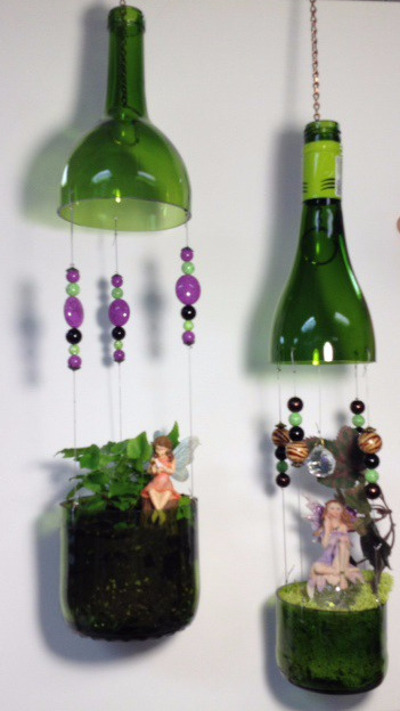 Hanging wine bottle fairy garden example