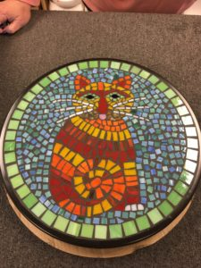 Mosaic glass table class cat