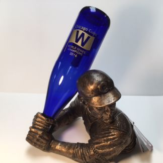 Bam Vino Chicago Cubs W holder with Engraved 2016 World Champions W wine bottle
