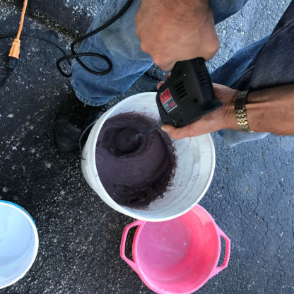 Mixing DiamondCrete in 5 Gallon Bucket - Stepping Stone Class