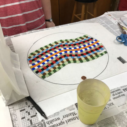 Mosaic Stepping Stone Class Cutting Out Glass