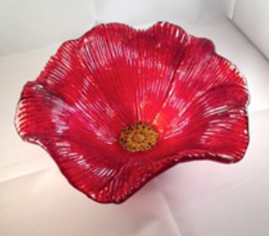 Organic Slump Mold Red Flower - Fused Glass Flowers Class Project