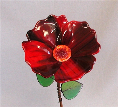 Single Red Glass Flower - Fused Glass Flowers Class Project