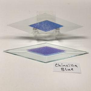 "Blue dichroic chinchilla 2"" x 6"" diamond glass stock bevel"