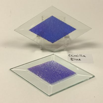 "Blue dichroic chinchilla 3"" x 5"" diamond glass stock bevel"