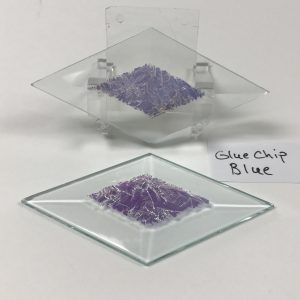 "Blue dichroic gluechip 2"" x 4"" diamond glass stock bevel"