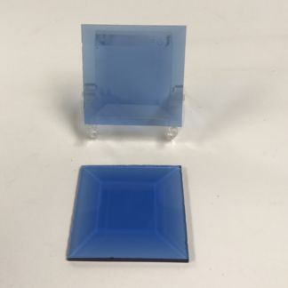 Blue square glass bevel 2 x 2