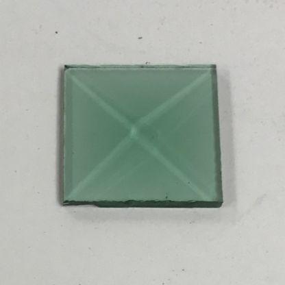 Green square glass bevel 1 x 1