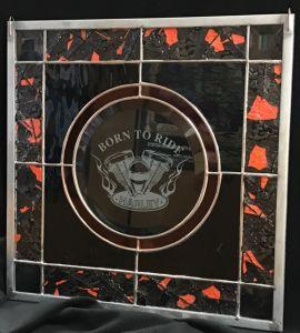 Harley Davidson Born to Ride beveled glass panel