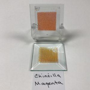 "Magenta dichroic chinchilla 2"" x 2"" square glass stock bevel"