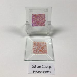 "Magenta dichroic glue chip 2"" x 2"" square glass stock bevel"