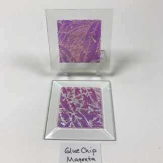 "Magenta dichroic glue chip 3"" x 3"" square glass stock bevel"