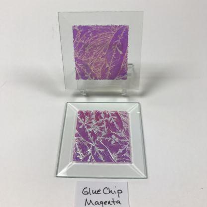 "Magenta dichroic glue chip 3"" x 3"" square glass stock bevel"