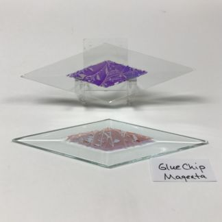 "Magenta dichroic glue chip 2"" x 6"" diamond glass stock bevel"