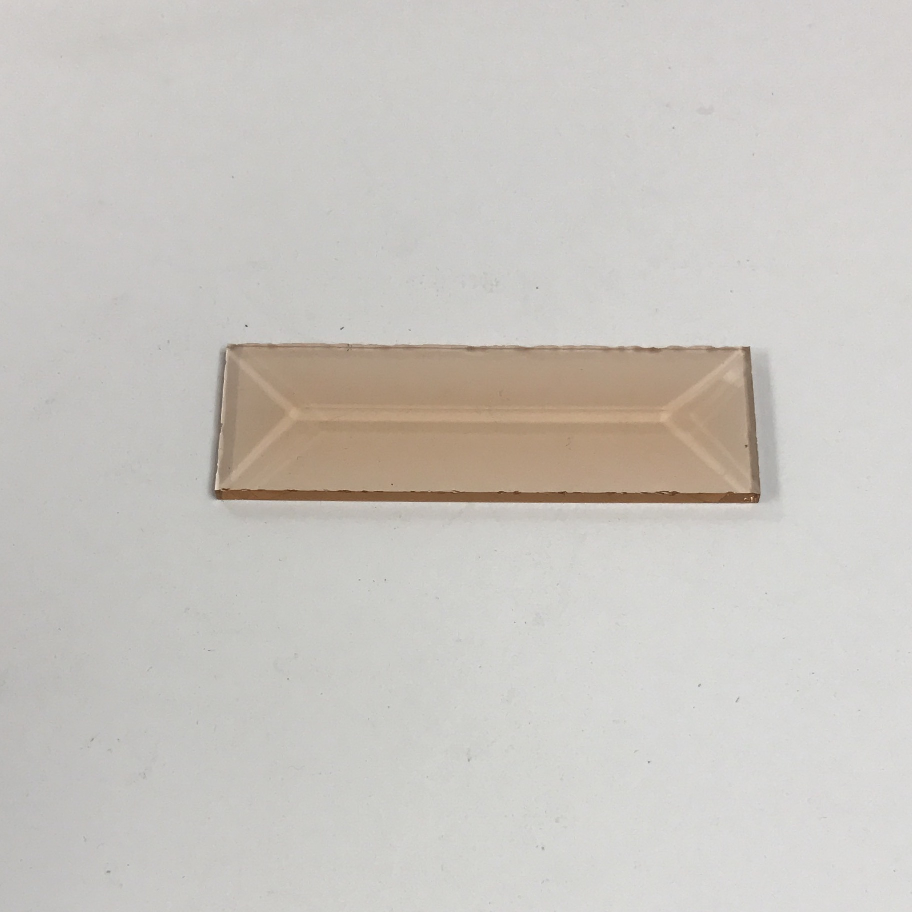 Peach rectangle glass bevel 1 inch representative