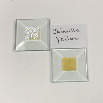"Yellow dichroic chinecilla 1-1/2"" x 1-1/2"" square glass stock bevel"