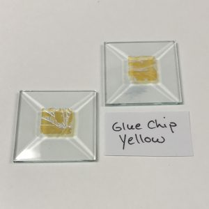 "Yellow dichroic gluechip 1-1/2"" x 1-1/2"" square glass stock bevel"