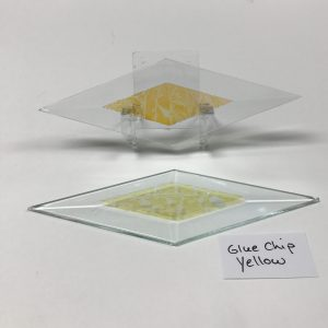 "Yellow dichroic glue chip 2"" x 6"" diamond glass stock bevel"