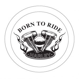 Harley born to ride v twin engine etched 6 inch glass bevel