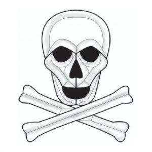 Skull and Cross Bones Beveled Glass Cluster