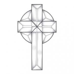 Celtic Cross Small Beveled Glass Cluster – MEC 153