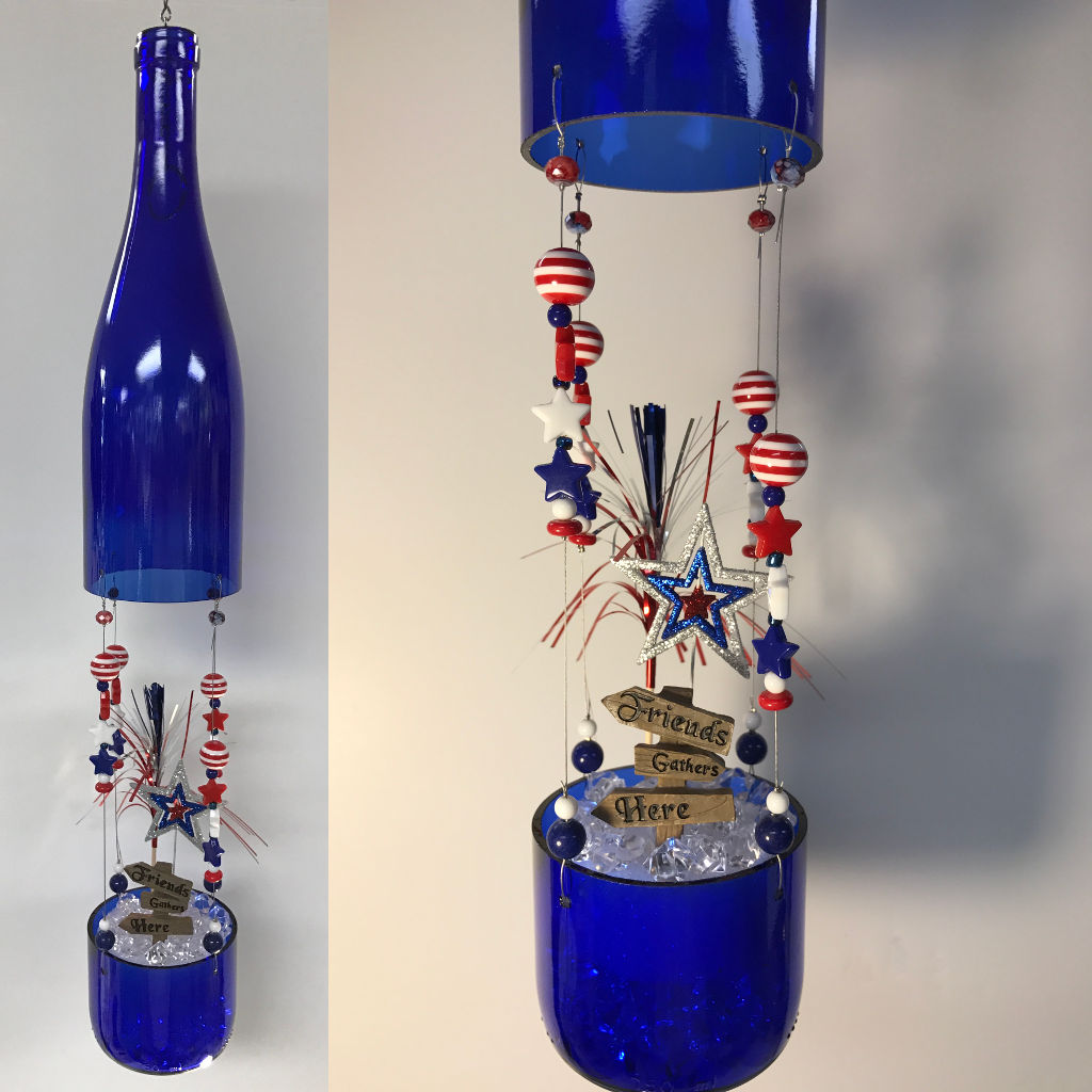 Finished DIY Wine Bottle Fairy Garden Project