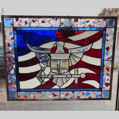 Patriotic Navy Beveled Glass Panel - MEC 281