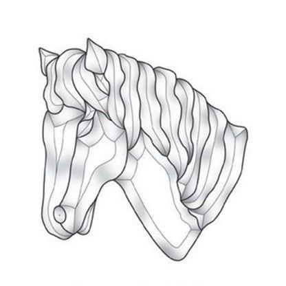 Horse Beveled Clear Glass Cluster - MEC 184