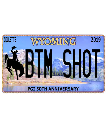 Bottom (BTM) Shot Wyoming Licence Plate