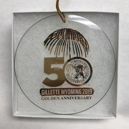 PGI 50th Anniversary Pyro Gold Glass Christmas Ornament